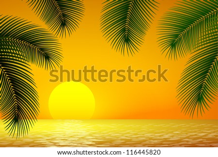 Sunset, sea and palm branch.  Raster version. - stock photo