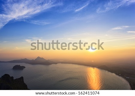 Sunset sea, at top view of mountain - stock photo