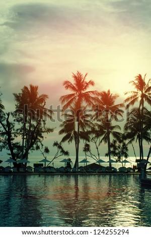 Sunset, sea, coastline - stock photo