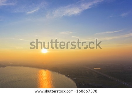 Sunset sea from top view of mountain