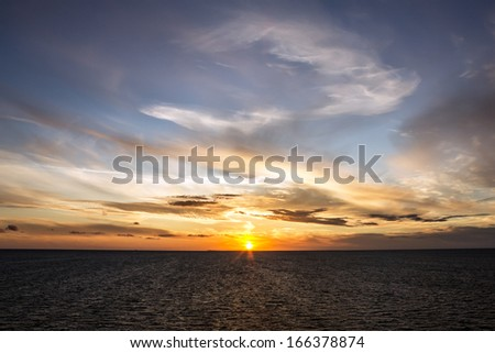 Sunset sea scape, Norway cruise - stock photo