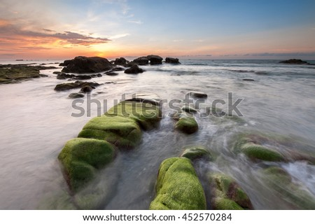 SUnset seascape at Kudat sabah Malaysia. image may contain soft focus and blur. - stock photo