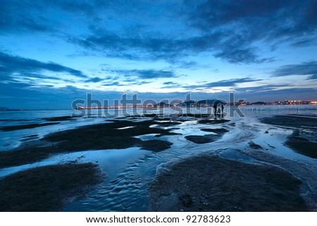 sunset shingle coast in hong kong - stock photo
