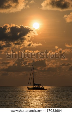Sunset Silhouette with a Boat