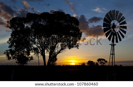 sunset silhouetting a gum tree and a bore water wind mill - stock photo