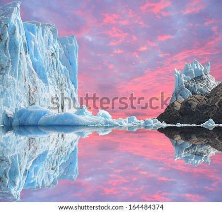 Sunset sky above Perito Moreno glacier. Argentina. - stock photo