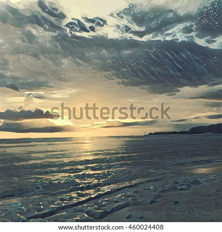 Sunset sky and calm seashore with sandy beach. Digital illustration in vintage style. Shining sun, cloudy sky, small waves on water surface. Evening in tropical island. Idyllic paradise landscape