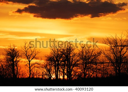 Sunset sky and clouds in elk island national park, edmonton, alberta, canada