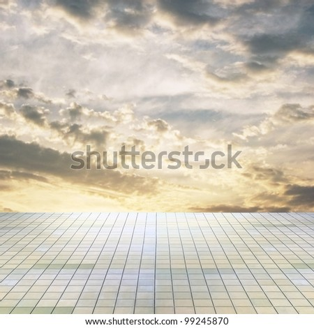 sunset sky and grey floor, background - stock photo