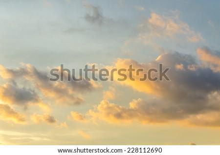 Sunset sky and orange cloud - stock photo