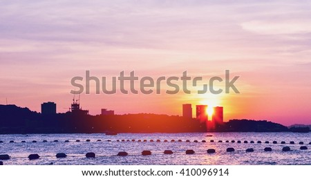 sunset sky background on the beach - stock photo