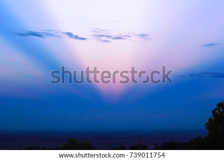 Sunset sky background, sunset view on the mountain
