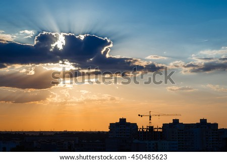 Sunset sky background with evening city view. Odessa, Ukraine. 2016 July 10