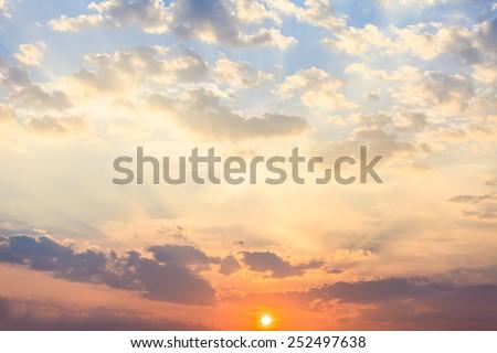 sunset sky. Beautiful sky. - stock photo
