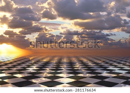Sunset sky chess fantasy  - stock photo