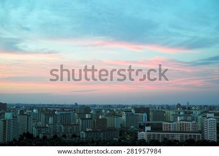 Sunset sky & city of Tokyo - stock photo