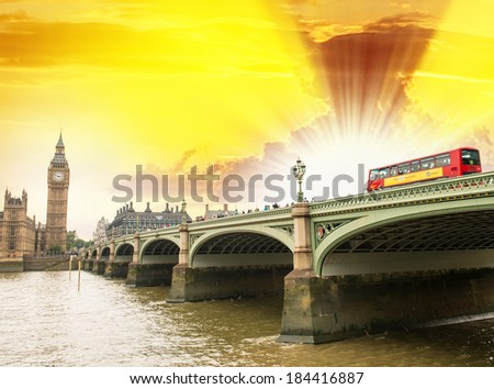 Sunset sky over Westminster Bridge with Double Decker Bus - London.