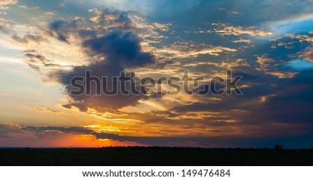 Sunset sky panorama. High resolution.  - stock photo