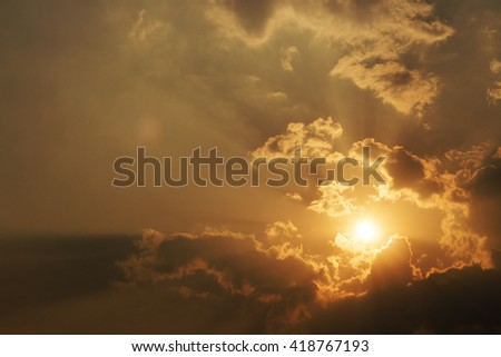 sunset sky with clouds.