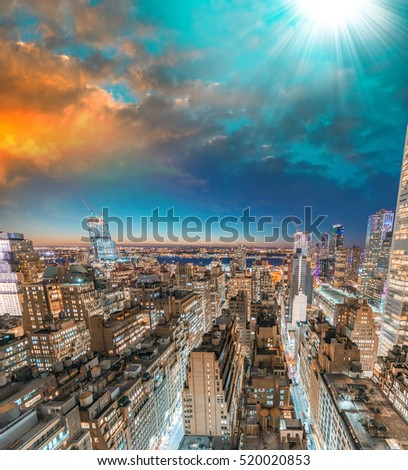Sunset skyline of Manhattan - New York City, USA.