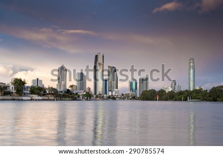Sunset Skyline, Surfers Paradise, Gold Coast, Queensland, Australia