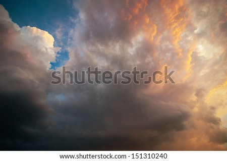 sunset, storm, rain, clouds