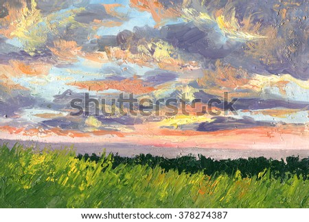 Sunset. Summer landscape. Clouds illuminated by the sunlight. Oil painting