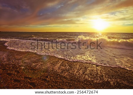 sunset sundown sea shore coast beach sky heaven palate