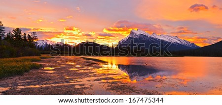 Sunset sunrise above Vermilion Lakes, Banff National Park, Canada - stock photo