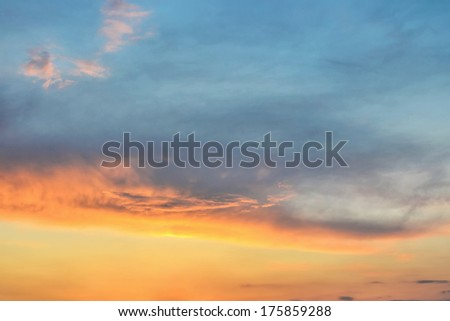 Sunset / sunrise with clouds - stock photo