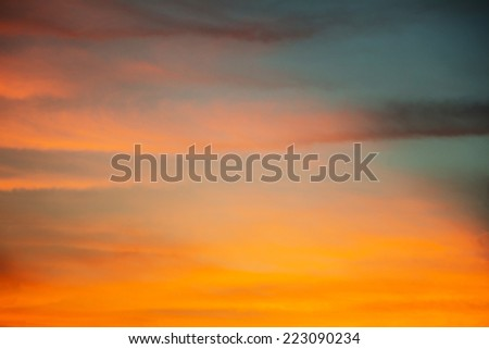Sunset \ sunrise with clouds - stock photo