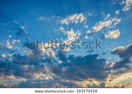 Sunset \ sunrise with clouds and sky - stock photo