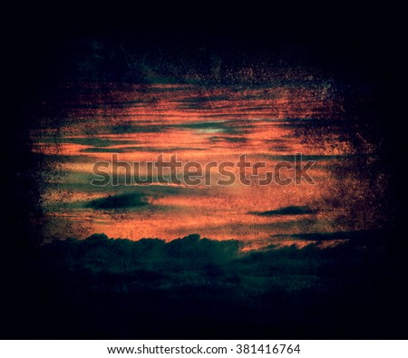 Sunset / sunrise with clouds, beautiful vintage calm sky background - stock photo
