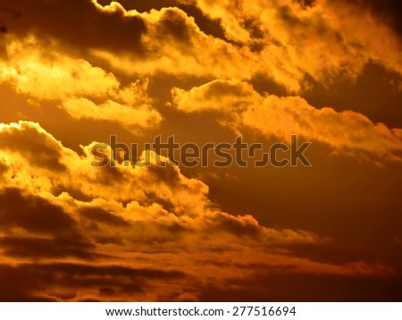 Sunset sunrise with clouds, light rays and other atmospheric - stock photo