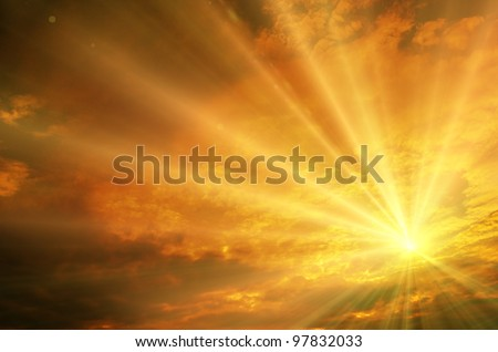 Sunset sunrise with clouds light rays and other atmospheric effect