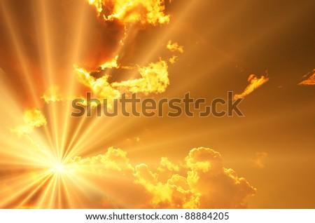 Sunset / sunrise with dark clouds - stock photo