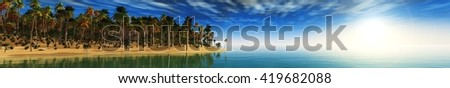 sunset tropical beach, palm trees and the sea, banner, 3D rendering - stock photo