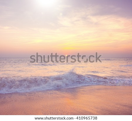 Sunset Twilight Dusk Beach Wave San Concept - stock photo