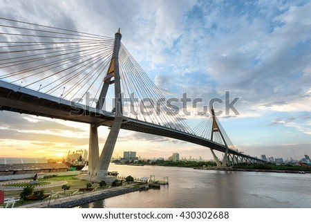sunset under the Bhumibol Bridge