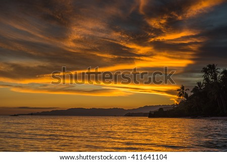 Sunset view at the Anda White Long Beach at Bohol island of Philippines - stock photo