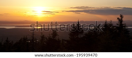 Sunset view from Cadillac Mountain, Acadia National Park, Maine
