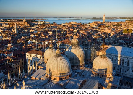 Sunset view from Campanile Tower to Basilica di San Marco, Venice, Italy - stock photo