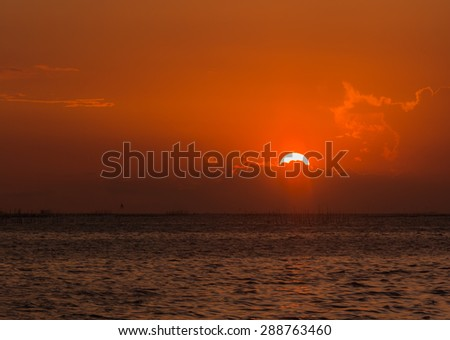 Sunset view from the beach in Thailand at summer time