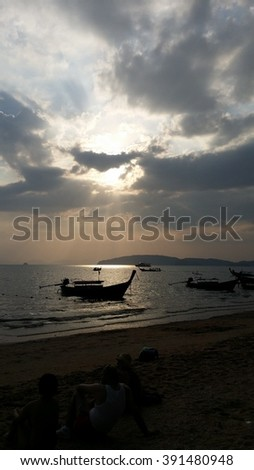 sunset view in aonang beach,thailand