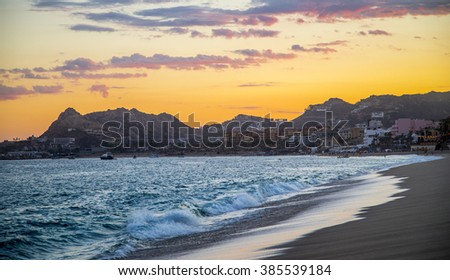 Sunset View in Cabo San Lucas Mexico - stock photo