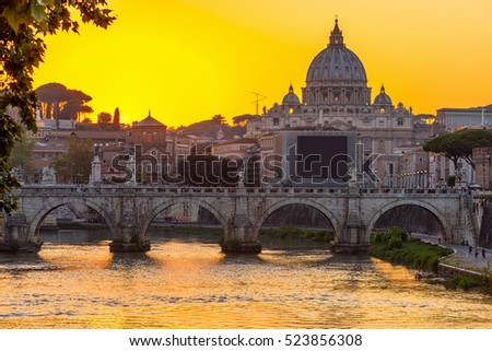 Sunset view of Basilica St Peter, bridge Sant Angelo and river Tiber in Rome. Italy. Rome architecture and landmark. Rome cityscape