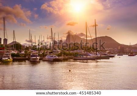 Sunset view of Botafogo, mountain Corcovado and Guanabara bay in Rio de Janeiro. Brazil - stock photo