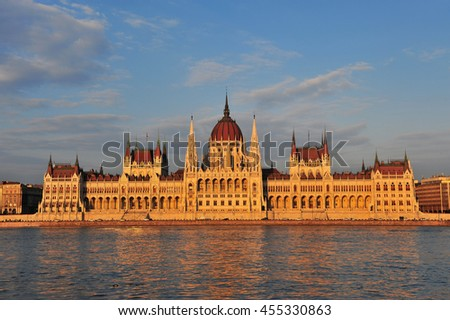 Sunset view of Budapest Parliament, Hungary