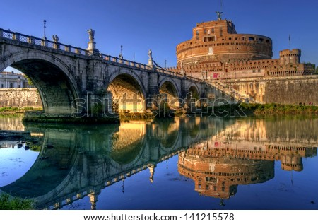 Sunset view of Castel Sant'Angelo and Ponte Sant'Angelo, Rome, Lazio, Italy