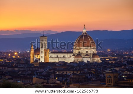 Sunset view of Cathedral Santa Maria del Fiore, Florence, Italy - stock photo